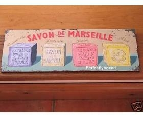 China Wiscombe Long Plaque Savon de Marseille Soap Retro Sign on sale