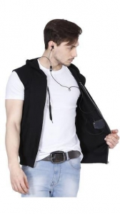 China Fanideaz Branded Hooded Cotton Zipper Jacket Sleeveless for Men (Black) on sale