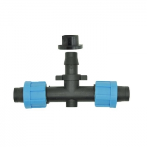 China Drip Tape Fittings Lock Adapter Tee for Tape Drip with Gasket on sale