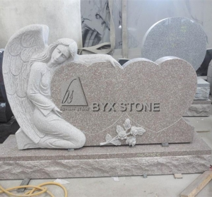 China Carving Angel Headstone with Double Heart Shape Companion Grave Tombstone on sale
