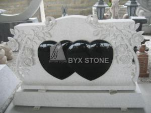 China Grey Black Granite Headstone Memorials with Double Heart Shaped Gravestones on sale