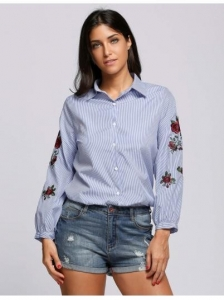 China Blue Floral Embroidery Collared Long Sleeve Buttoned Work Shirt on sale
