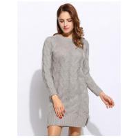 Women O-Neck Long Sleeve Slit Side Knitting Hemp Flowers Sweater Dresses
