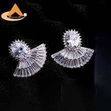 China Women's Fan Shape Zircon Stones Stud Earrings,Luxury Real White Gold plated Copper Jewelry on sale
