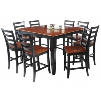 Ryley Counter Height Dining Set- Black and Saddle Brown