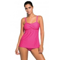 Deep Pink 2pcs Swing Tankini Swimsuit LC41933-106