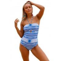 Lace up Crisscross Back Printed One Piece Swimwear LC410183