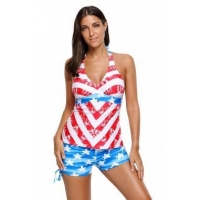 China Patriot American Flag Pattern Halter Tankini Swimsuit LC410306 on sale