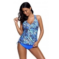Blue Sea Cami Swim Top and Panty Set LC410277-4