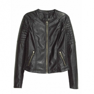 China Sexy Slim Black Biker Motorcycle Synthetic PU Leather Zipper Jacket Women Coat on sale