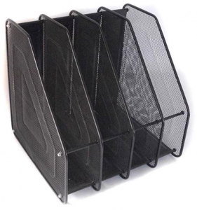 China Black Metal Mesh Office Desktop Document File Rack Magazine Holder Organizer on sale