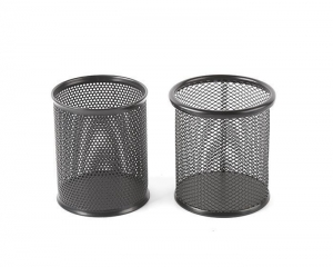 China Mesh Metal Wire 3.5 Inch Desk Round Pen Pencil Holder on sale