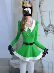 China 2013 New Fair Lady Slim Big Lower Hem Green Vivi Vollar Cute Puff Sleeve Shirt|Blouse on sale