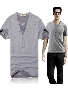 China 2012 Summer Men's Casual Slim V-neck Fake Two Pieces Cotton Short Sleeve T-Shirt on sale