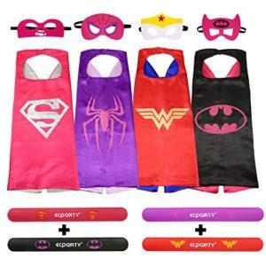 China Ecparty Superheros Cape and Mask Costumes Set Matching Wristbands for Girl (4 Pack) on sale