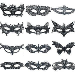 China Sexy Costumes 12 Pcs Sexy Black Lace Eye Mask For Women Girls At Costume Halloween Masquerade Party on sale