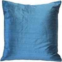 Sankara Marine Blue Silk Throw Pillow 18x18