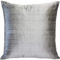 Sankara Silver Silk Throw Pillow 16x16