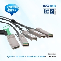 40GBASE-CR4 QSFP+ to four 10GBASE-CU SFP+ direct attach breakout cable, 1 meter passive
