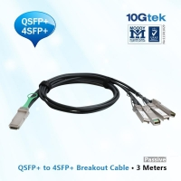 40GBASE-CR4 QSFP+ to four 10GBASE-CU SFP+ direct attach breakout cable, 3 meters passive