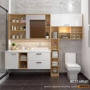 China White and Wood Grain Bathroom Mirrored Medicine Cabinet BC17-HPL01 on sale