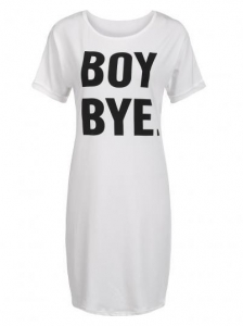 China Dresses White Casual O-Neck Short Sleeve Letter Print Loose T-shirt Dress Model: ww0a0003 on sale