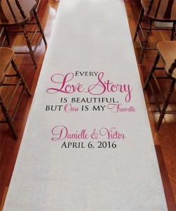 China Personalized Love Story Aisle Runner on sale