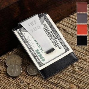China Personalized Leather Money Clip and Credit Card Holder on sale