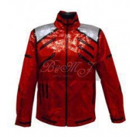 Michael Jackson Beat It Jacket in Shiny Red Snake Skin Pattern