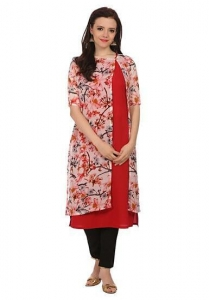 China Indo Western Kurtis maroon colour sleeveless kurta with floral printed long shrug on sale