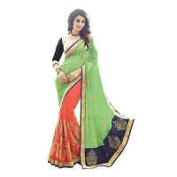 Fancy Sarees georgette green orange colour zari embroidery work with lace border saree