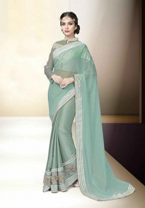 China sea green lycra net designer saree on sale