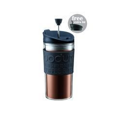 China BODUM TRAVEL PRESS coffee maker with extra lid, 0.35L/12oz - Black on sale