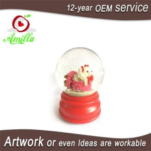China 100mm Red Resin Dog Water Ball Figurines With Snow Flakes Music Function on sale