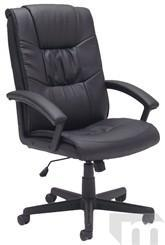 China Ergonomic Chairs Pillow-Tufted Black Leather Managerial/Conference Office Chair on sale
