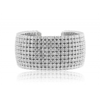 Bracelets 52.61 Carat Round Brilliant Cut Diamond Bangle Bracelet (18k White Gold)