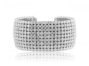 China Bracelets 52.61 Carat Round Brilliant Cut Diamond Bangle Bracelet (18k White Gold) on sale