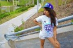 CLEARANCE Internationally Fly Women t-shirt in White/Purple and Turquoise