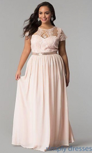 China Short-Sleeve Lace-Bodice Long Plus-Size Prom Dress SOI-PD16266 on sale