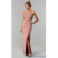 Mauve Pink Long Prom Dress with Caged Open Back SS-X36021DPH