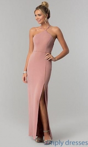China Mauve Pink Long Prom Dress with Caged Open Back SS-X36021DPH on sale