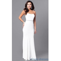 Long Strapless Ivory White Prom Dress with Jewels SY-ID4129VP