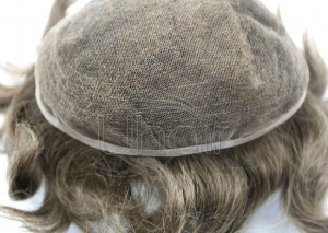 China Fashion Original Clip on Man Bun Wig Natural Black Color 100%human Hair Toupee Men's Wigs on sale
