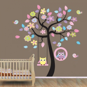 China WallStickersUSA Wall Sticker Decal, Beautiful Tree with Hanging Owls Pink Flowers, X-Large on sale