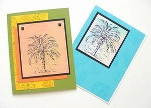 China Palm Tree Greeting Note Card - Beautiful Hand Crafted  Blue on sale