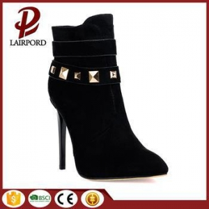 China You don't believe this newest design black low cut women ankle boots selling as hot cake on sale