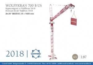 China Trucks Wolff 700B Tower Crane Fly Jib Extension Set - 1:87 Item Number:CON98031 on sale