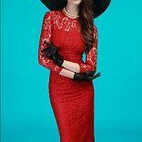 China Sexy Round Neck Long Sleeve Lace Full Lining Slim Fit Dress on sale