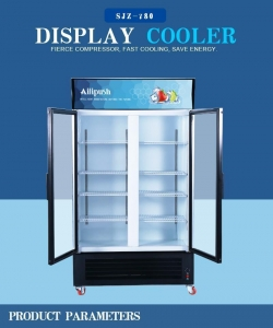 China 2 Glass Doors Direct Cooling Vertical Fridge on sale