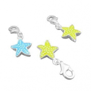 China Charming Charms - Silver 925 Enamel Charms/Sterling Silver Star Jewelry Charms on sale